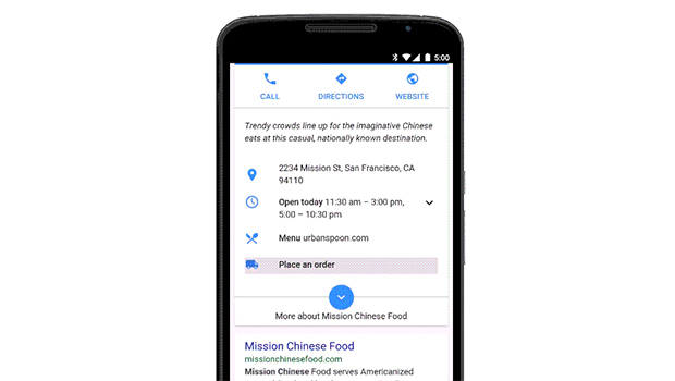 Google inserta función de envío de comida en búsqueda móvil